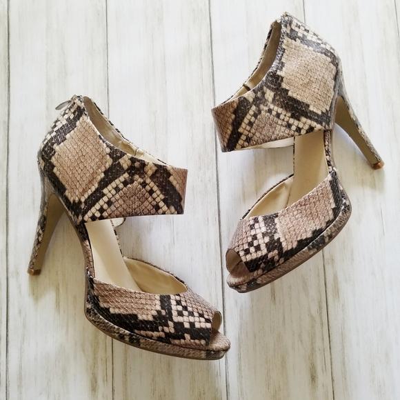 Nine West Shoes - Nine West Faux Snakeskin Print Peep Toe Heels